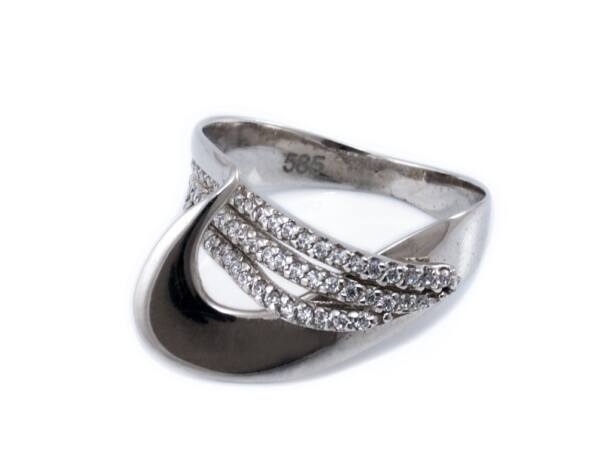 Köves fehérarany fantáziagyűrű