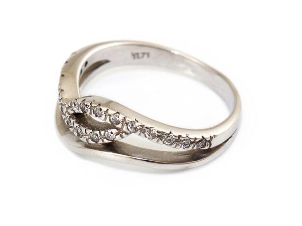 Köves hullámos fehérarany gyűrű