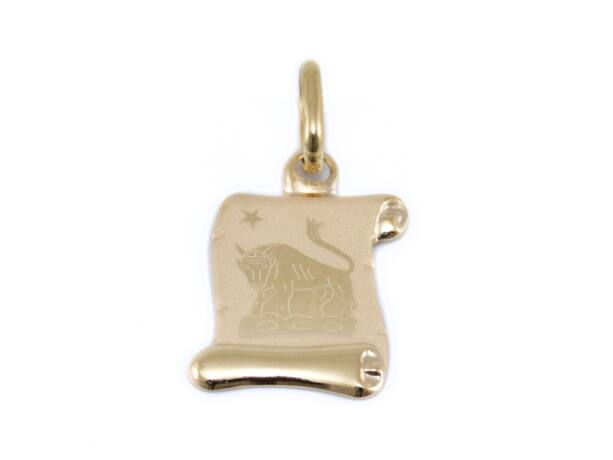 Pici pergamenes mattított bika arany medál
