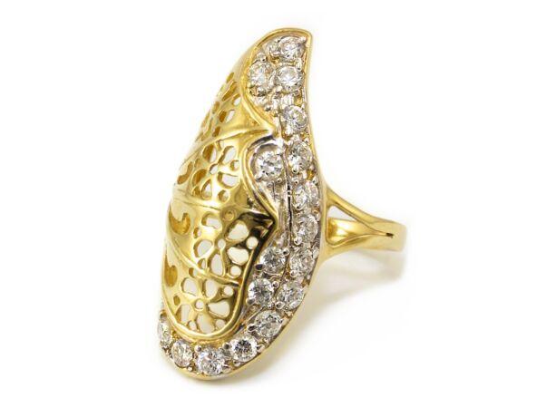 Hosszúkás köves női arany gyűrű