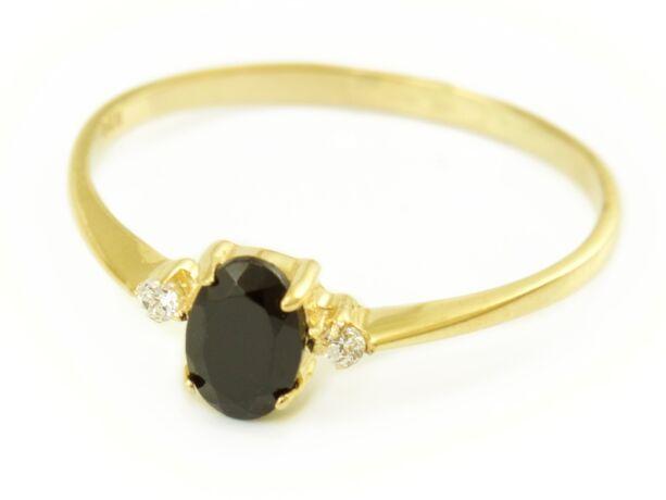 Zafír és cirkónia köves arany eljegyzési gyűrű