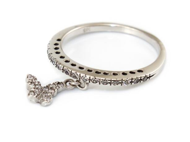 Köves pillangós fehérarany gyűrű