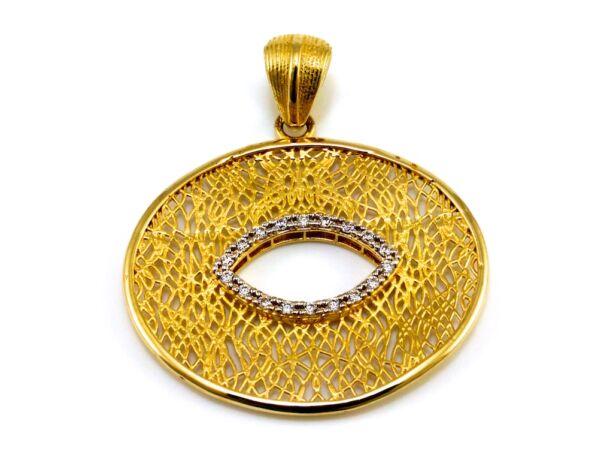 Köves áttört ovális arany medál
