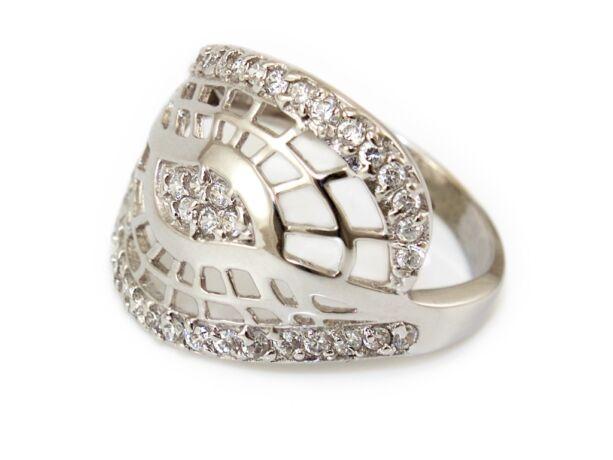 Köves hálós fehérarany gyűrű