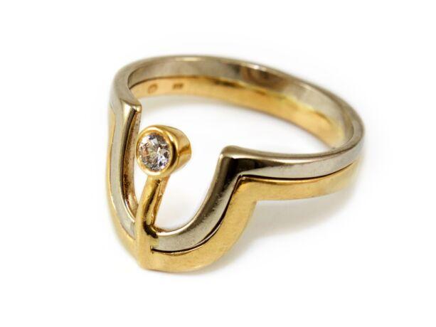 Bicolor köves arany gyűrű