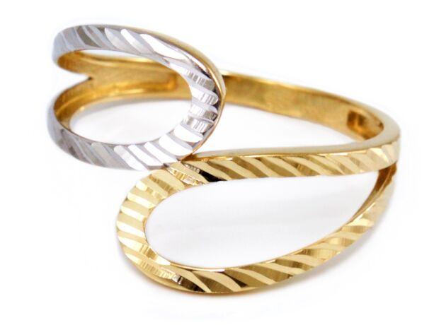 Vésett bicolor áttört arany gyűrű