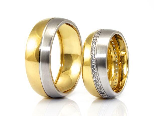 Bicolor köves arany karikagyűrű