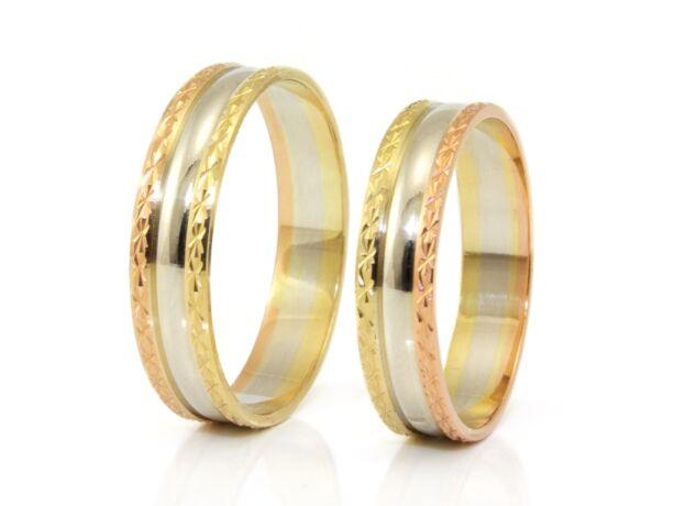 Tricolor vésett arany karikagyűrű