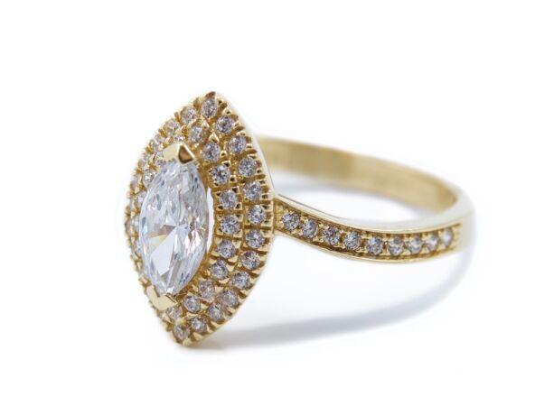 Sárga arany szoliter eljegyzési gyűrű
