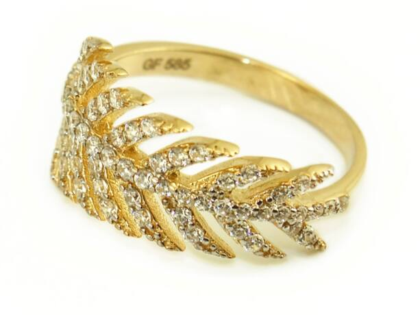 Köves levél női arany gyűrű