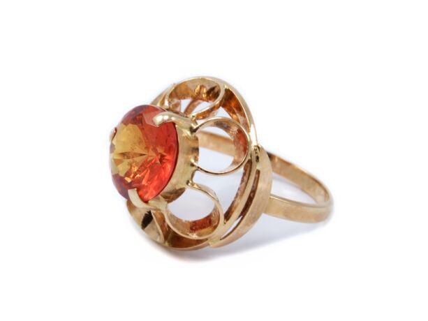Sárga arany narancssárga köves gyűrű