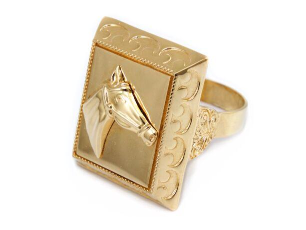 Lófejes arany pecsétgyűrű