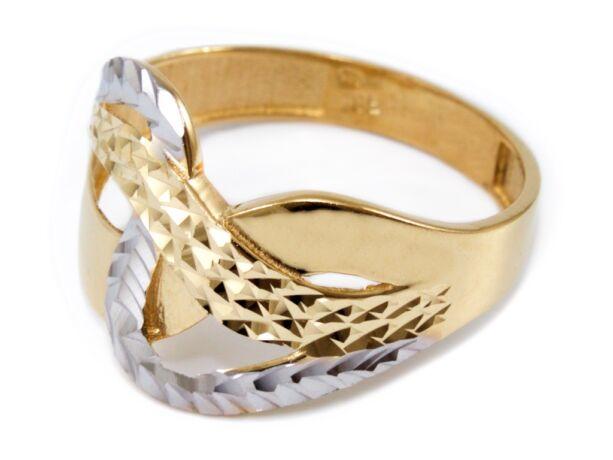 Vésett áttört bicolor arany gyűrű
