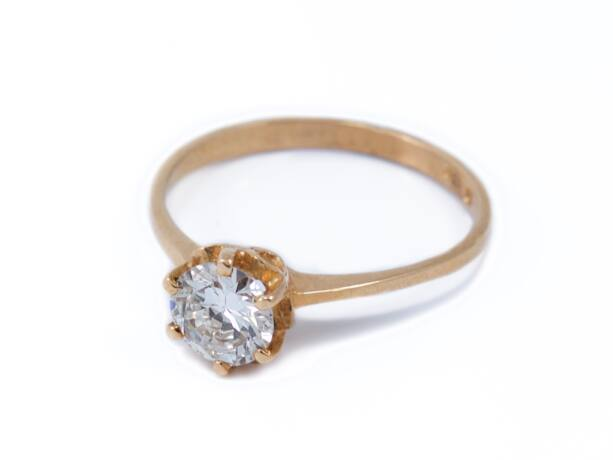 Sárga arany brill köves gyűrű