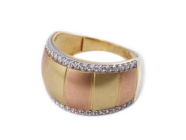 Bicolor matt és köves arany gyűrű