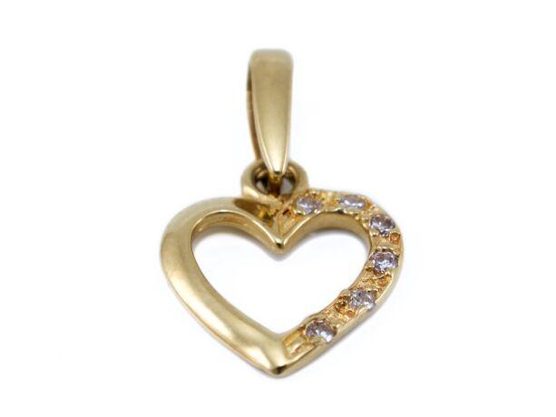 Köves áttört arany szív medál