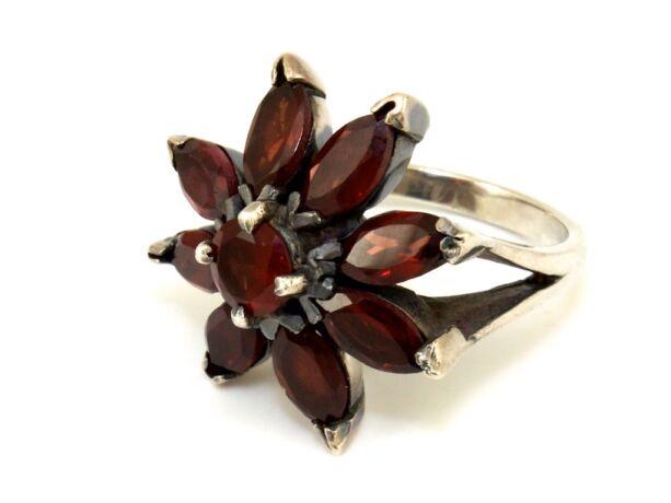 Köves virágos női ezüst gyűrű