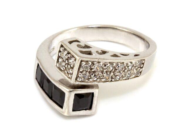 Fekete-fehér köves női ezüst gyűrű