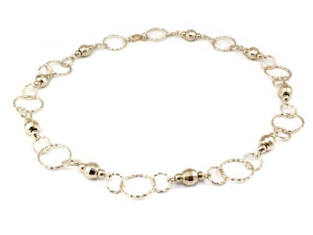 Csiszolt bogyós karikás ezüst nyaklánc