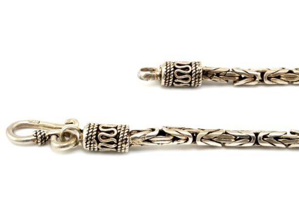 Antikolt ezüst király karlánc