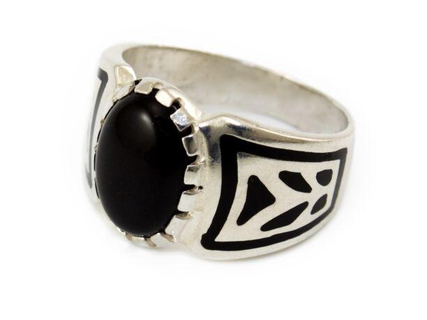 Fekete köves ezüst pecsétgyűrű