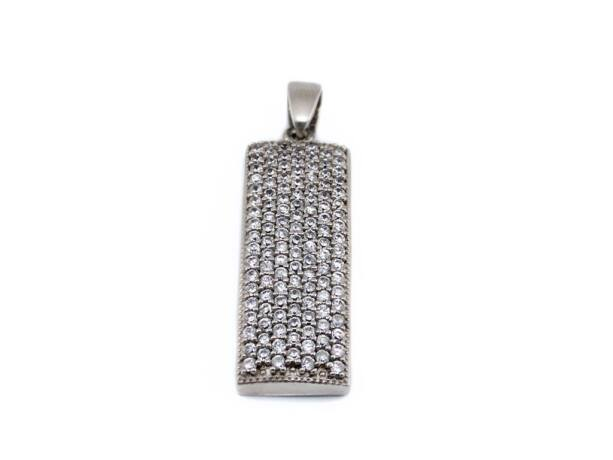 Köves téglalap alakú ezüst medál