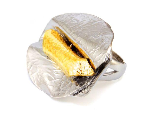 Kézi készítésű aranyozott ezüst gyűrű