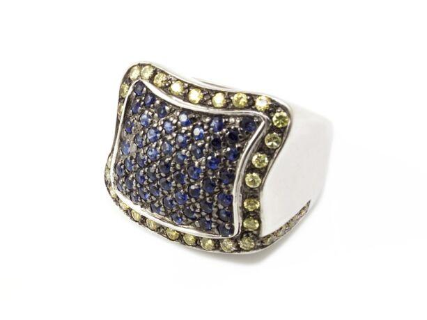 Kék és sárga köves női ezüst gyűrű