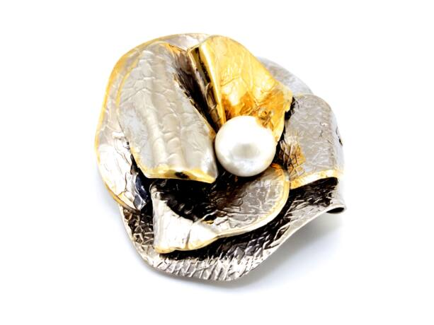 Kézi készítésű aranyozott ezüst medál