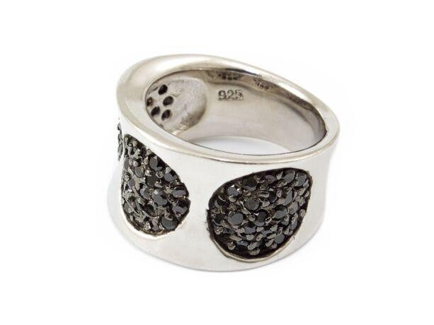 Fekete köves női ezüst gyűrű
