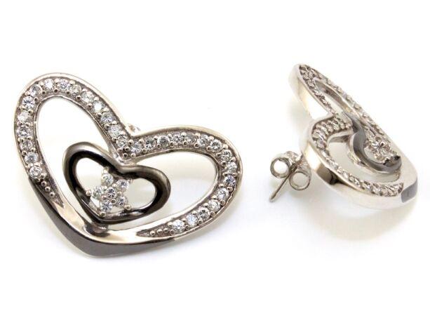 Köves bicolor ezüst szív fülbevaló