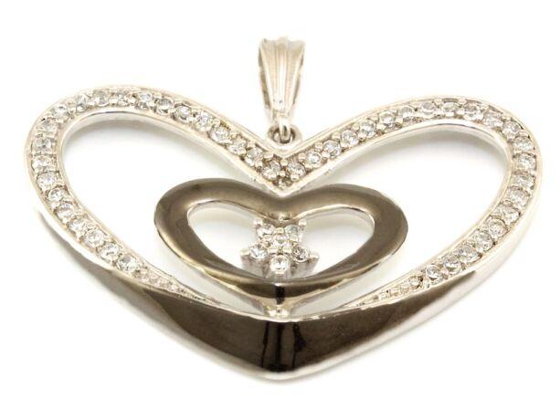 Köves bicolor ezüst szív medál