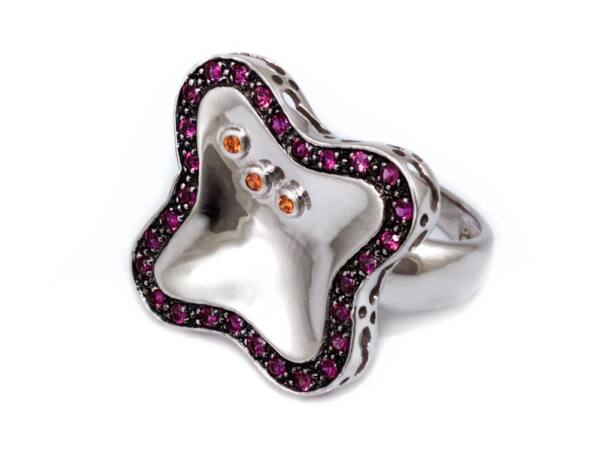 Bordó-narancs köves fantázia ezüst gyűrű