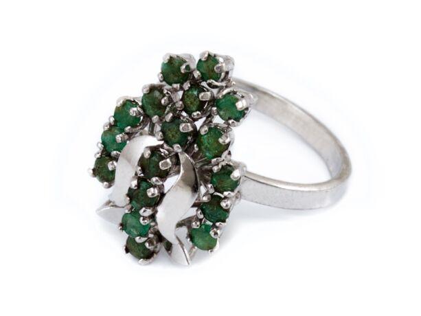Smaragd köves tulipános ezüst gyűrű