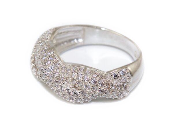 Fonott hatású köves ezüst gyűrű
