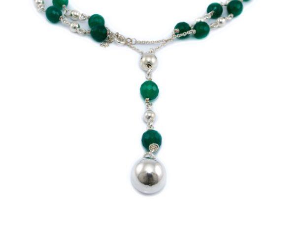 Zöld köves bogyós ezüst nyaklánc