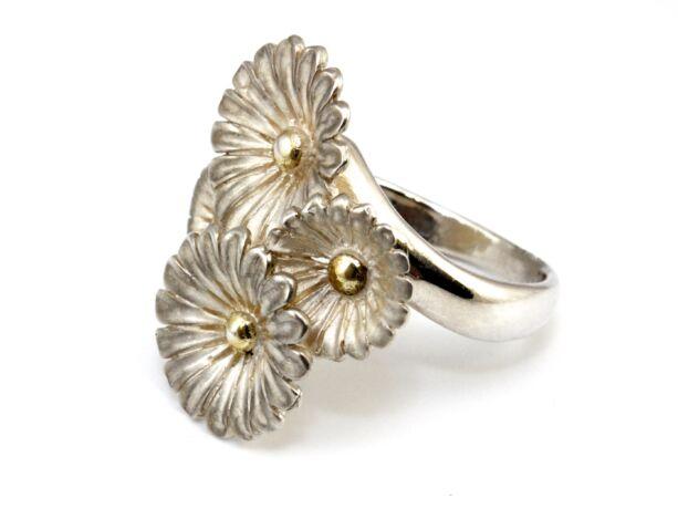 Kézi készítésű virágos ezüst gyűrű
