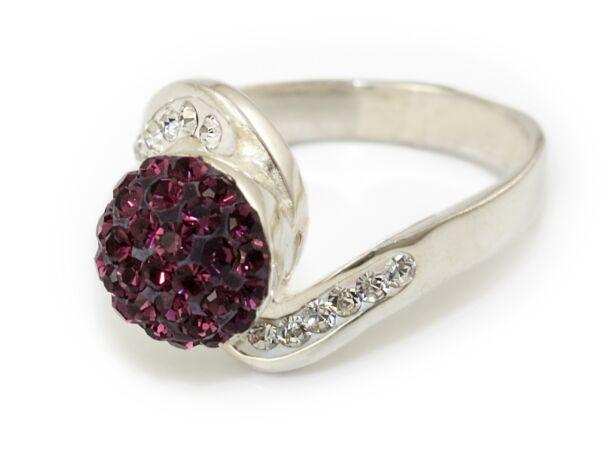 Lila-fehér swarovski kristályos bogyós ezüst gyűrű