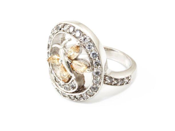 Pillangós áttört köves ezüst gyűrű