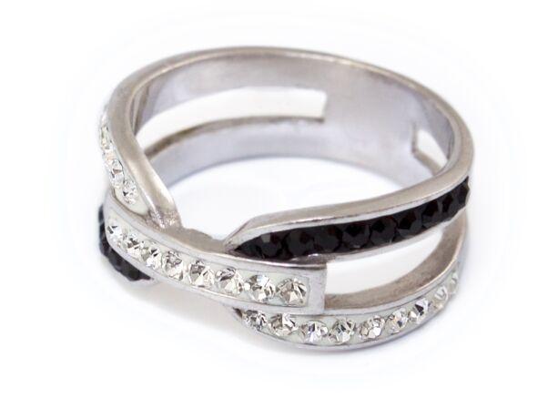 Fekete-fehér swarovski kristályos áttört ezüst gyűrű