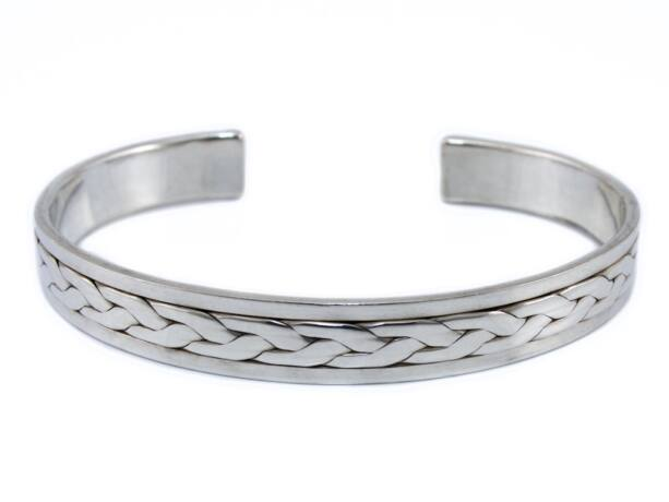 Fonott mintás nyitott ezüst karreif