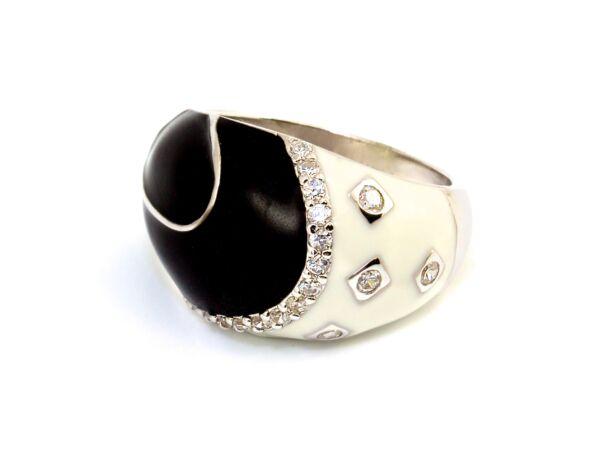 Fekete-fehér női ezüst gyűrű