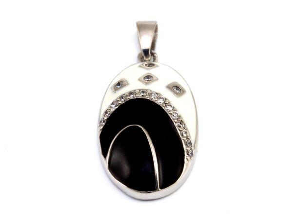 Fekete-fehér női ezüst medál