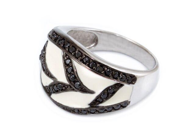 Fekete-fehér köves ezüst gyűrű