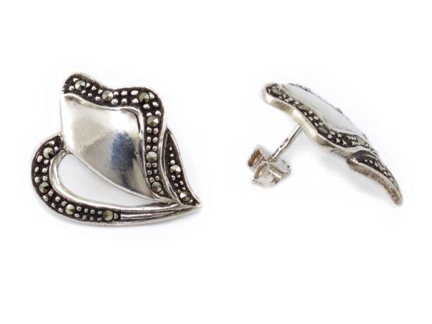 Markazitos bedugós ezüst fülbevaló