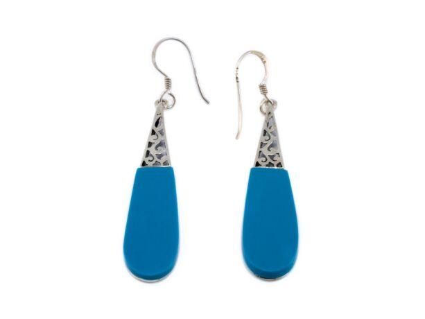 Kék köves lógós ezüst fülbevaló