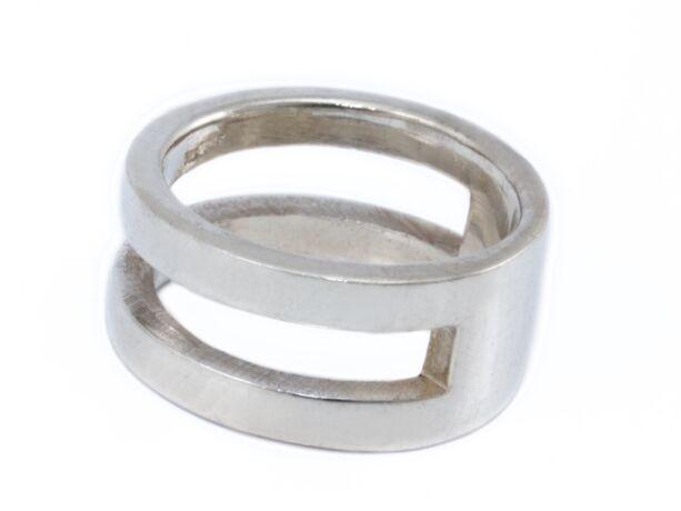 Dupla karika hatású ezüst gyűrű