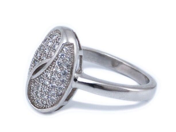 Köves kávészemes ezüst gyűrű