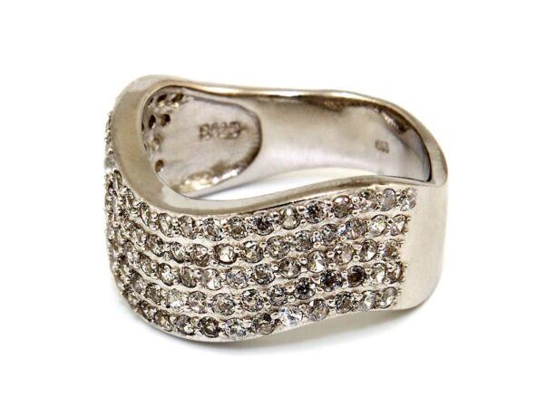 Köves hullámos női ezüst gyűrű