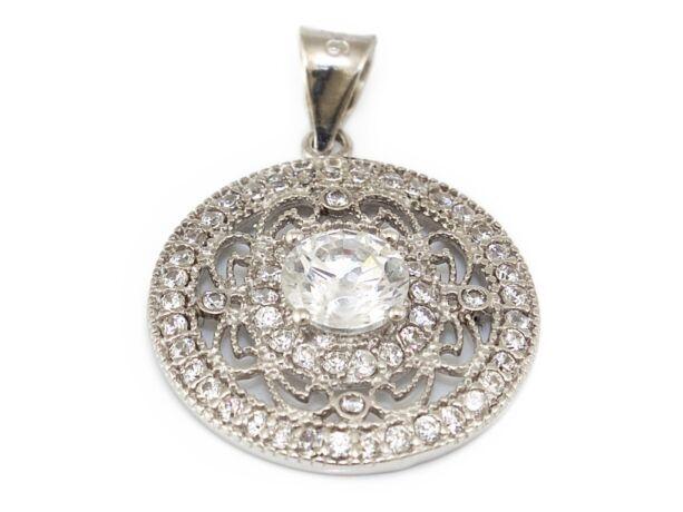 Áttört köves kör alakú ezüst medál